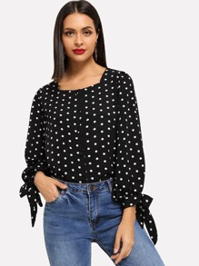 Tie Detail Dot Print Blouse