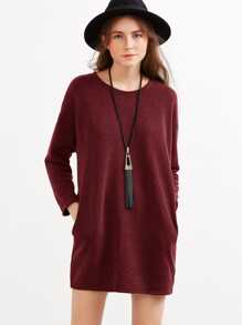 Drop Shoulder Marled Knit Dress