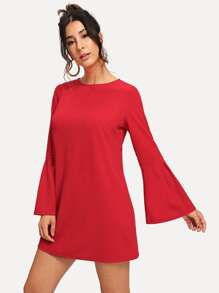 Flounce Sleeve Tunic Dress