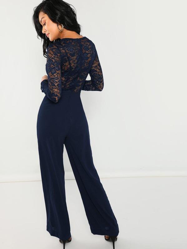 33696fb6b0fa Contrast Lace Wide Leg Jumpsuit