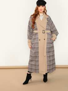 Plus Self Belted Plaid Longline Coat