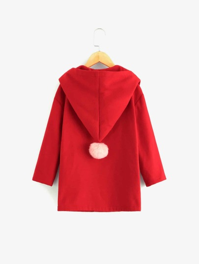 Girls Button Up Hooded Coat With Pom Pom