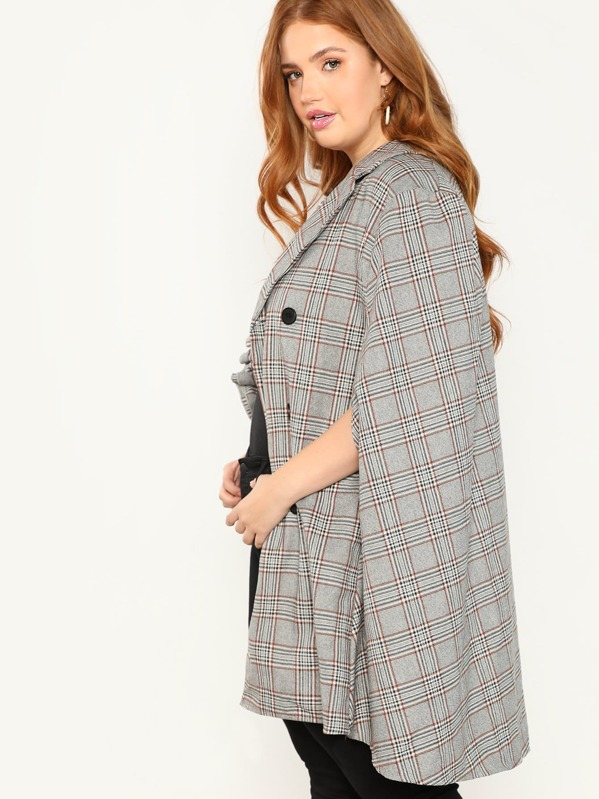0475b372d3 Plus Notched Collar Frilled Trim Plaid Coat. AddThis Sharing Buttons
