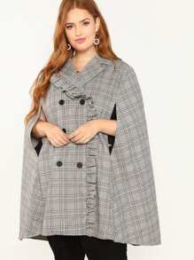 Plus Notched Collar Frilled Trim Plaid Coat