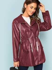 Drawstring Waist Faux Leather Coat