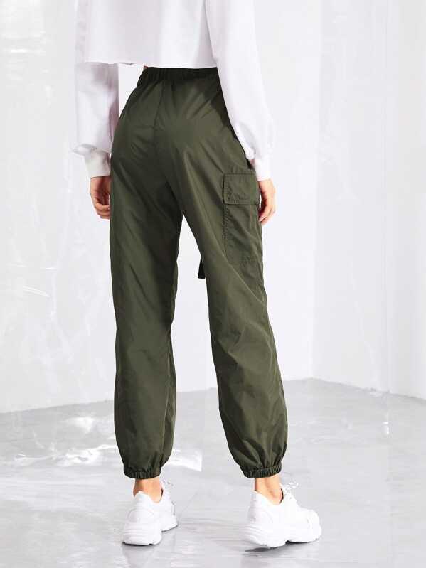 a0ba0e6dfc38 Pocket Side Drawstring Waist Pants