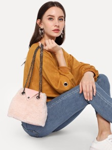 Faux Fur Design Chain Satchel Bag