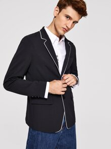 Men Single Button Contrast Piping Blazer
