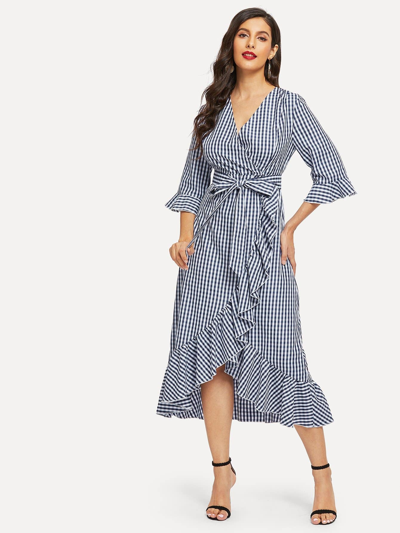 c8ad1c7aa04 Tie Waist Ruffle Hem Gingham Wrap Dress