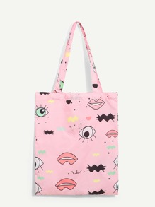 Cartoon Print Tote Bag