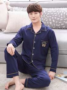 Men Letter Embroidered Button Up Pajama Set