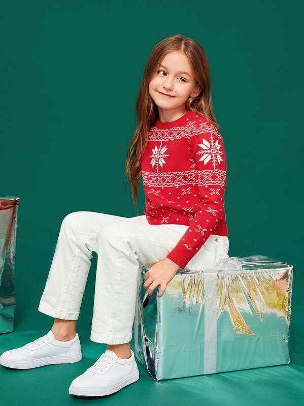 dfbb7bfdc6 Kids Christmas & Geo Print Jumper | SHEIN UK