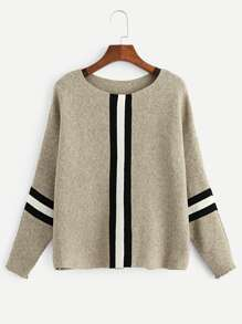 Contrast Striped Panel Ribbed Sweater