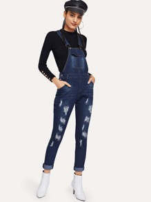 Dark Wash Ripped Overall Jumpsuit