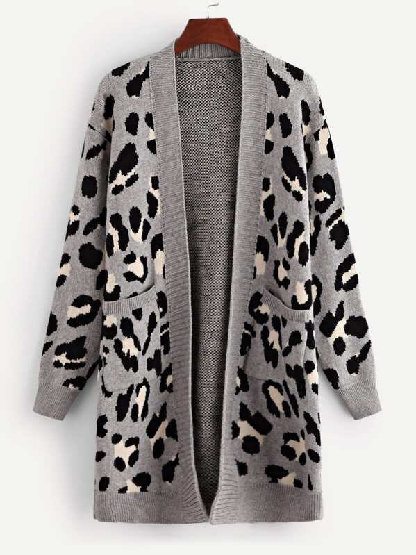c937a4679b77 Cheap Pocket Patched Leopard Print Cardigan for sale Australia | SHEIN