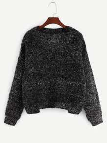 Drop Shoulder Marled Knit Fuzzy Sweater