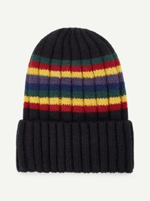 Color Block Striped  Beanie Hat
