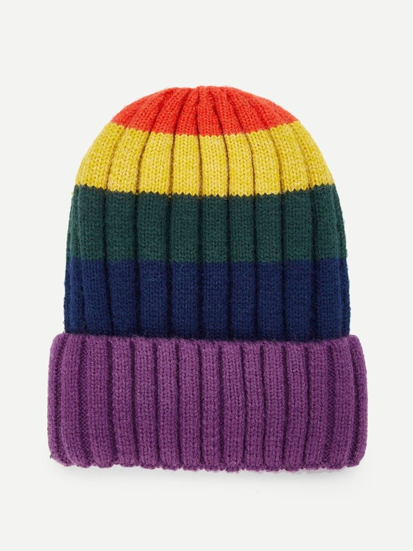 ffe80a392cb Color Block Beanie Hat