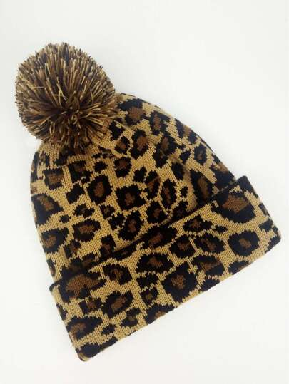 Home · Accessories · Hats  Gloves  Leopard Pattern Beanie Hat 1441f91dd15