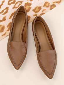 PU Stitch Pointy Flats