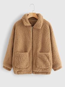 Zip Up Pocket Side Teddy Outerwear