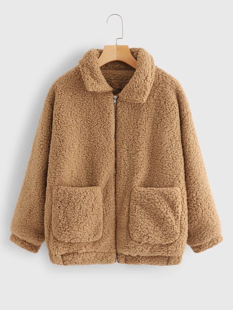 Zip Up Pocket Side Teddy Outerwear by Romwe