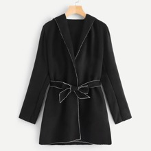 Contrast Trim Hooded Outerwear