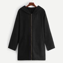 Zip Up Hooded Tweed Outerwear