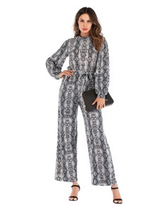 Self Tie Snake Print Jumpsuit