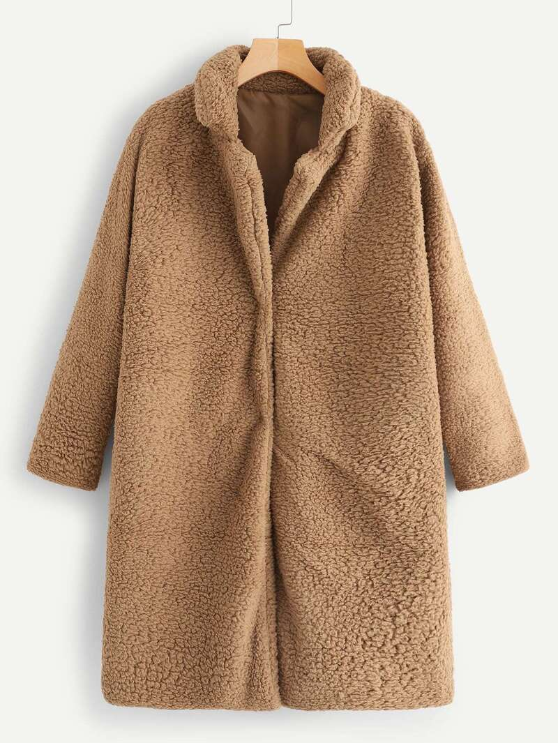 Solid Collar Teddy Coat by Romwe
