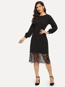 Contrast Lace Solid Sweater Dress