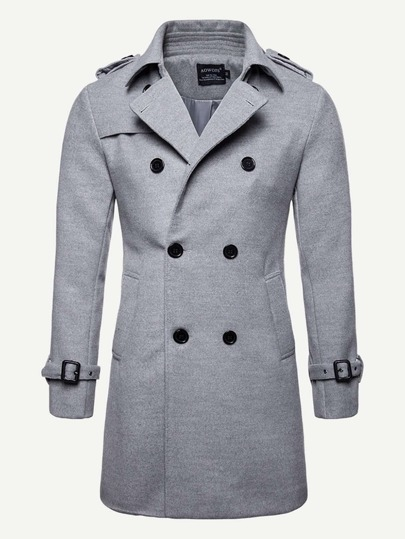 Guys Double Breasted Belted Cuff Overcoat