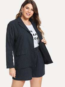Plus Single Breasted Striped Blazer With Shorts