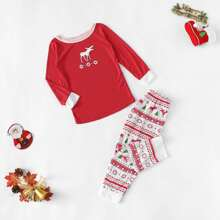 Christmas Kids Deer & Snow Print Pajama Set