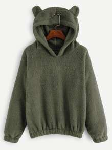 Solid Hooded Teddy Sweatshirt