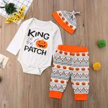 Toddler Girls Halloween Letter Print Jumpsuit & Halloween Print Pants & Hat
