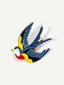 Color Block Bird Design Brooch