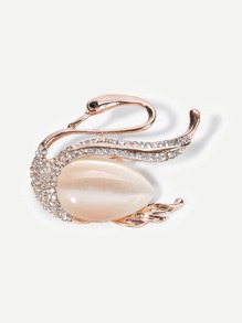 Swan Shaped Gemstone Brooch