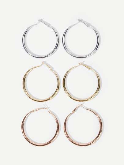 Plain Hoop Earrings Set 3pairs