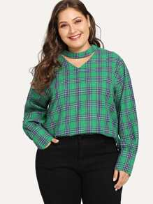 Plus Plaid Print Top