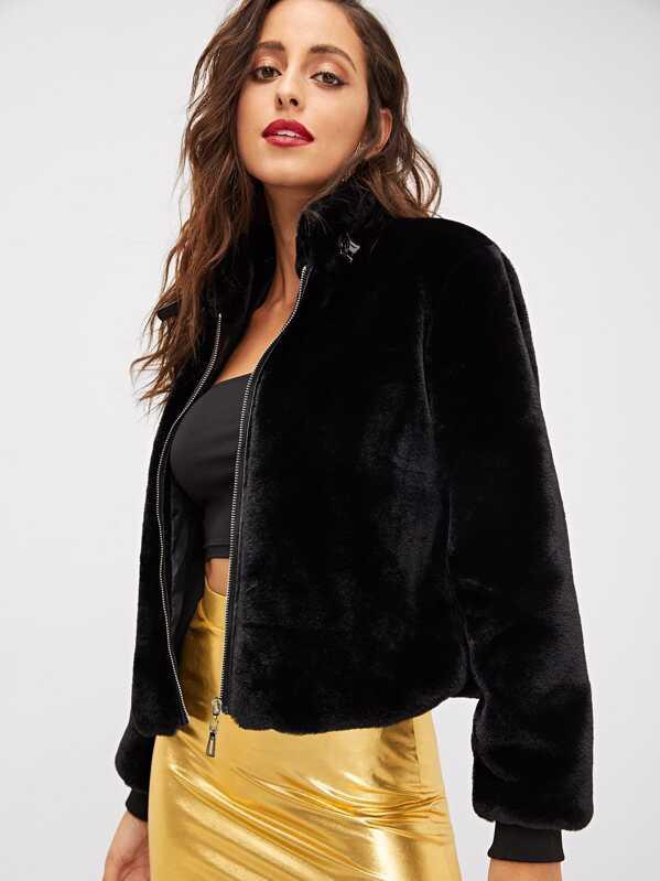 43e2ef0b4b Zip-up Front Faux Fur Jacket