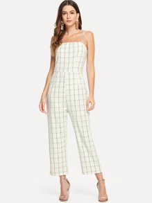 Plaid Print Cami Jumpsuit