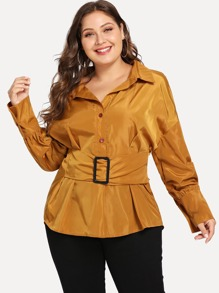Plus Button Front Belted Collar Solid Coat