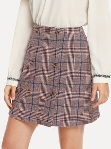 Double Breasted Plaid Skirt