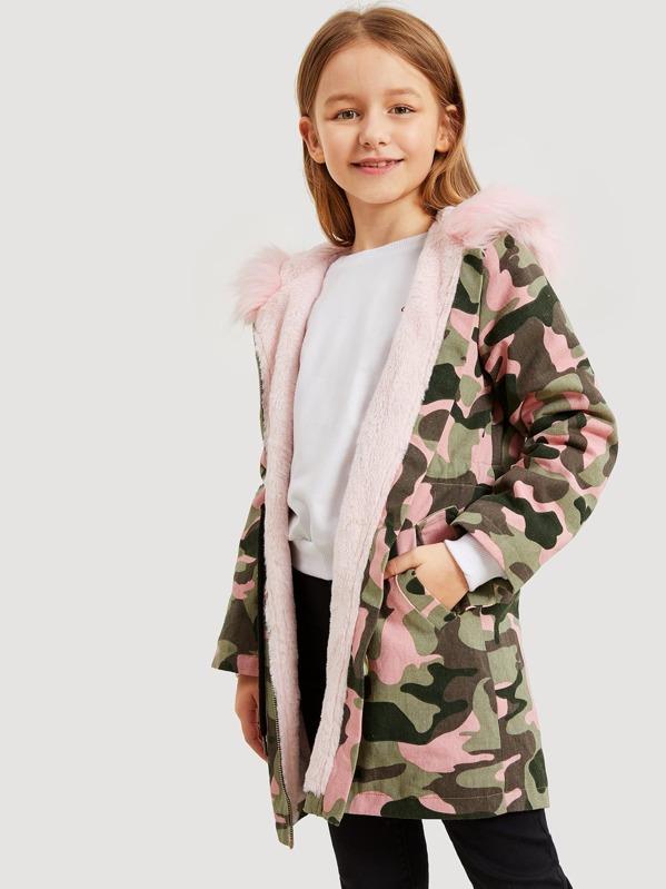 Fausse Fourrure Imprimé Fille Avec Camouflage Manteau Capuche À 7YmgbvIf6y