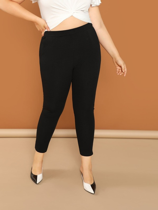 SheinPlus Elastic Waist Jersey Pants by Sheinside
