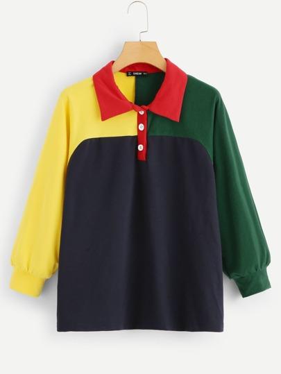 2a93f43089 Cut and Sew Half Placket Sweatshirt | SHEIN