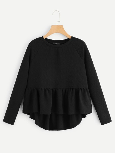 Raglan Sleeve Textured High Low Smock Sweatshirt