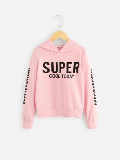 Girls Letter Graphic Hoodie