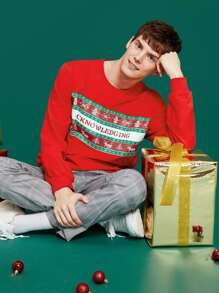 Men Crew Neck Christmas New Year Print Pullover